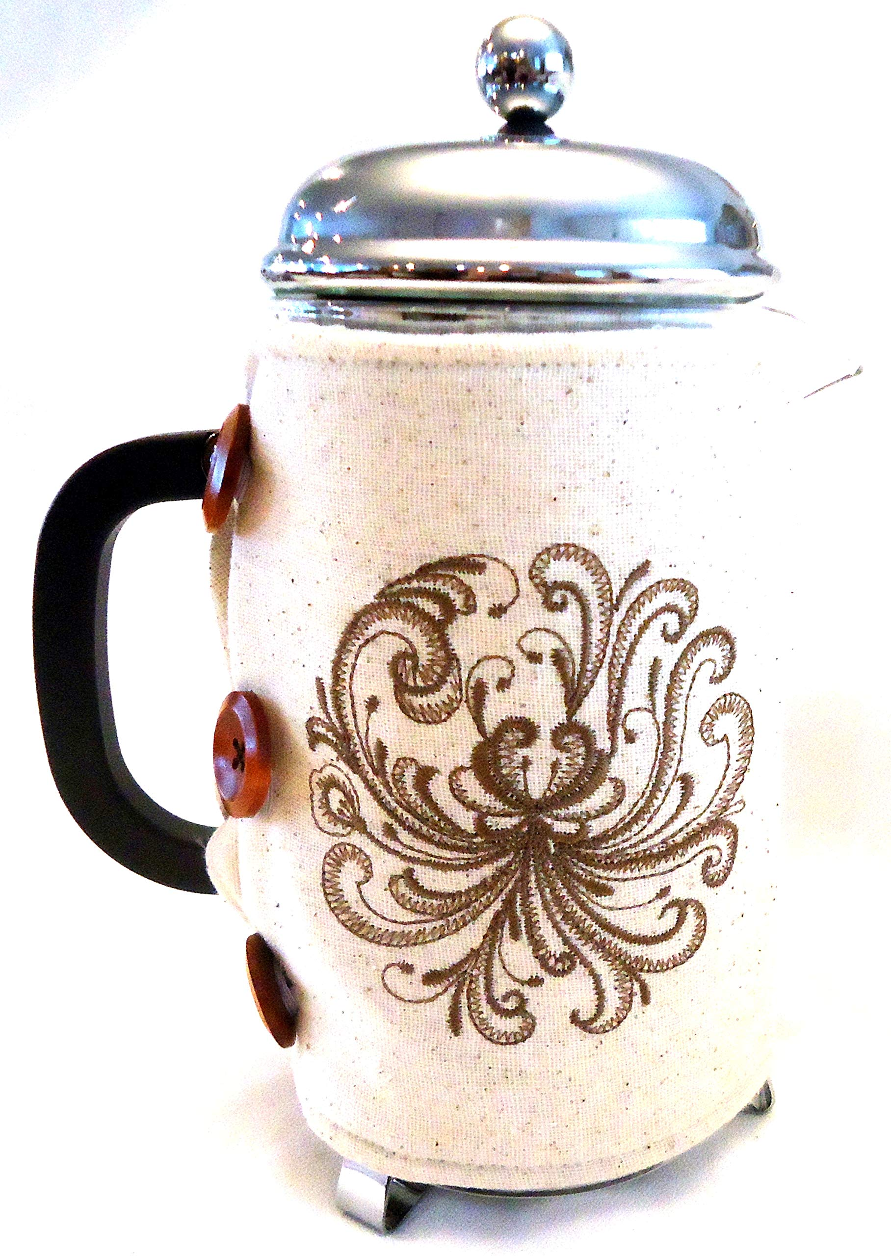 Integrity Designs Scandinavian Rosemaling Embroidered French Press Cozy with Gift Card and Envelope by Integrity Designs