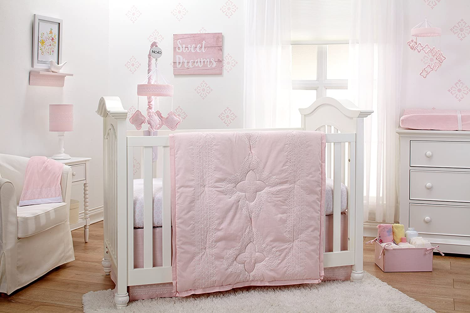 Amazon Com Nojo Chantilly 4 Piece Nursery Crib Bedding Set Pink