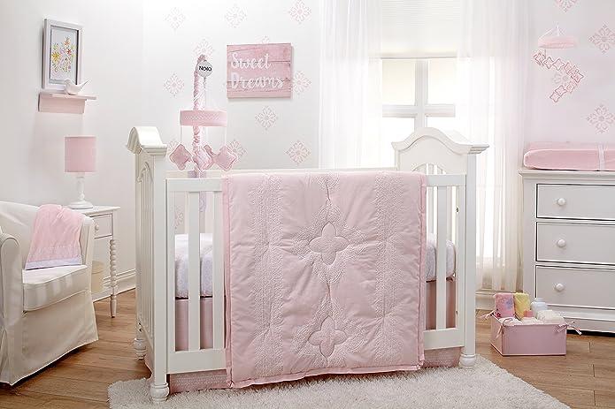 NoJo Chantilly Pink and White 4 Piece Nursery Crib Bedding Set - Quilt, 100% Cotton Fitted Crib Sheet, Crib Skirt with 16u0022 Drop, Nursery Storage/Organizer