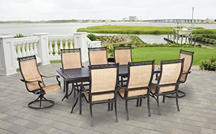 Amazon Com Hanover Mandn9pcsw 2 P Manor 9 Piece Rust Free Aluminum