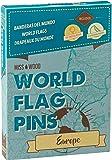 Miss Wood - Bandiere del Mondo (Europa) adesive con spilli, Colore: Blu, 15,6x 11x 2cm
