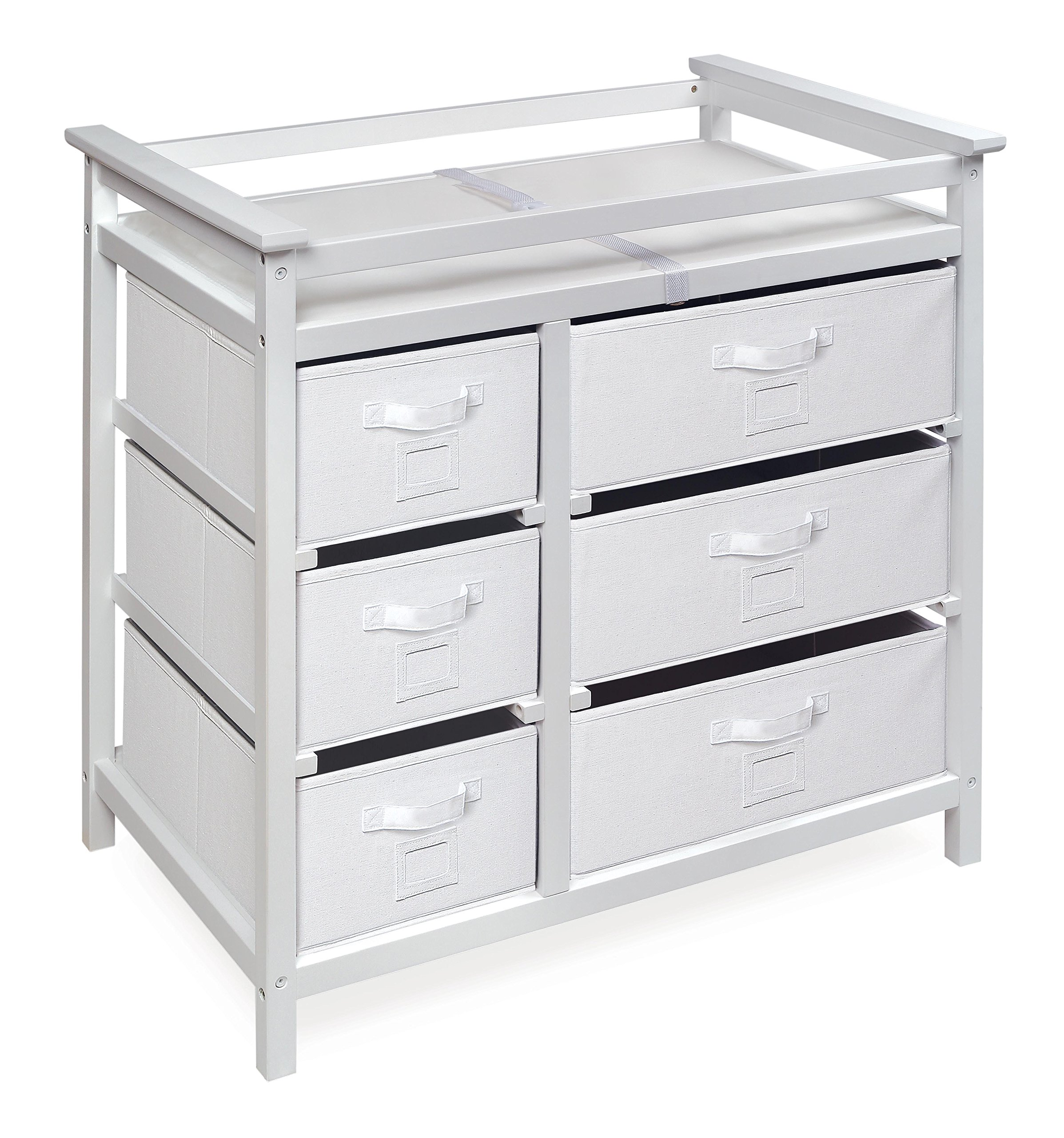 Modern Baby Changing Table with 6 Storage Baskets and Pad by Badger Basket