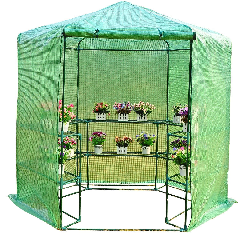 Invernadero Caseta acero 194x194x225 cm 10 Estantes jardin terraza cultivo flores plantas: Amazon.es: Hogar