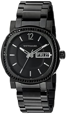 amazon com wittnauer mens wn3050 22mm stainless steel black watch wittnauer mens wn3050 22mm stainless steel black watch bracelet