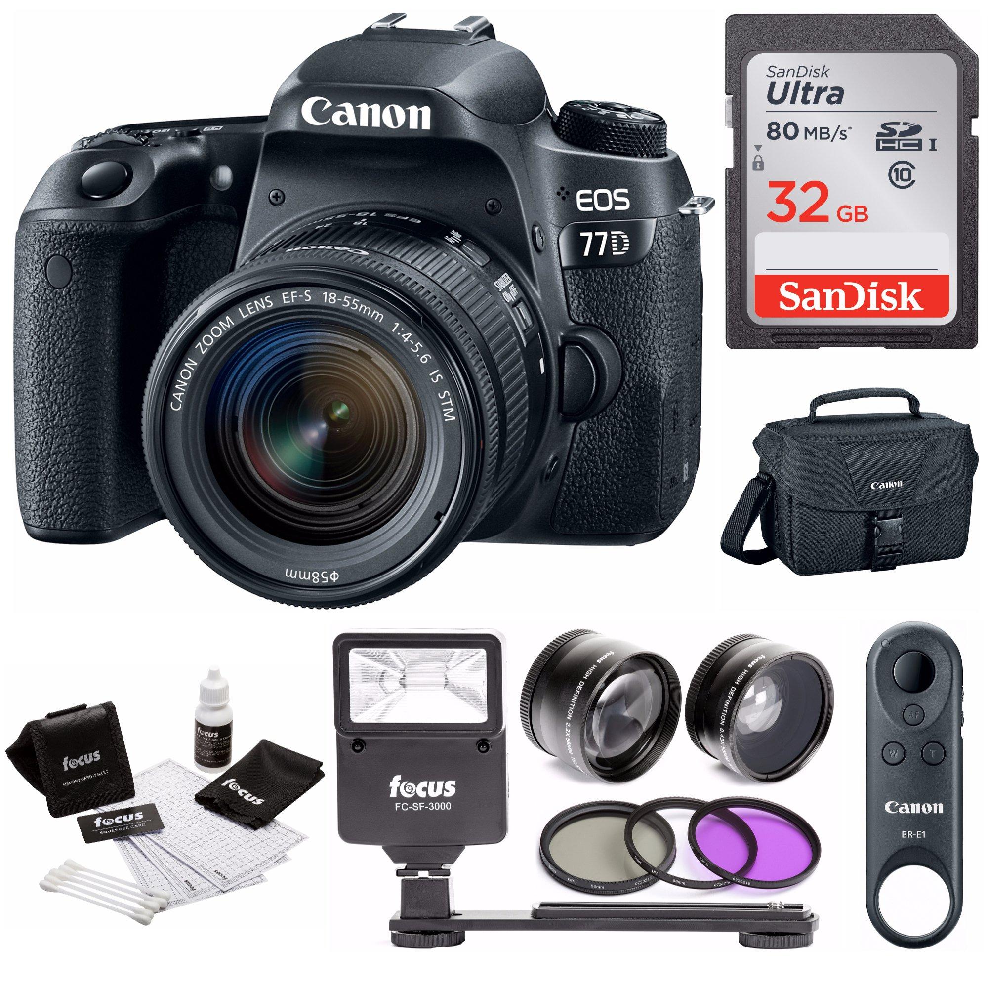 Canon EOS 77D DSLR with 18-55mm Lens & BR-E1 Remote Control + Flash & 32GB Bundle by Focus Camera