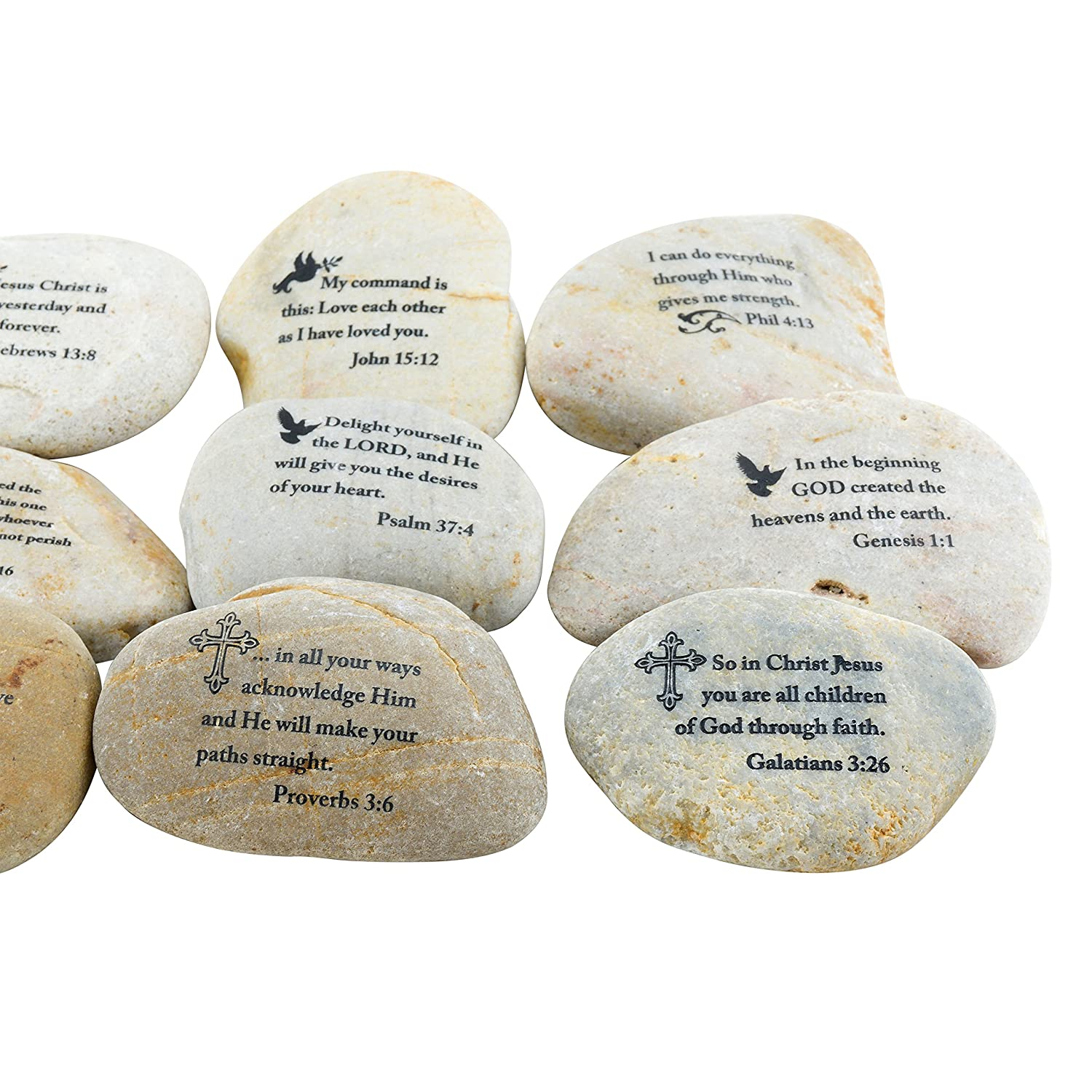 Amazon Stonebriar 12pc Inspirational Scripture Stones Religious Gifts For Friends Family Home Kitchen