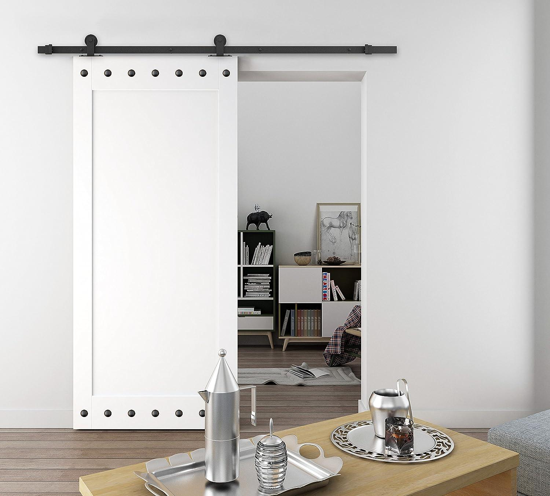 AiHom Riel de 183cm Conjunto de herrajes para una puerta corrediza simple de madera: Amazon.es: Bricolaje y herramientas