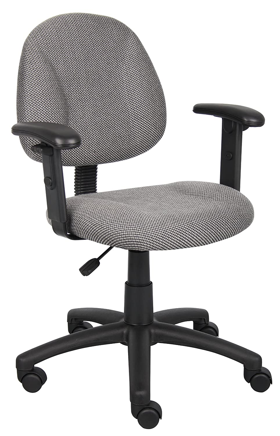 Boss Office Products B316-GY Perfect Posture Delux Fabric Task Chair with Adjustable Arms in Grey