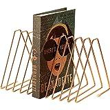 CAXXA 10 Slots Triangle Bookshelf, File Sorter, Magazine Holder, Document Holder, Rose Gold