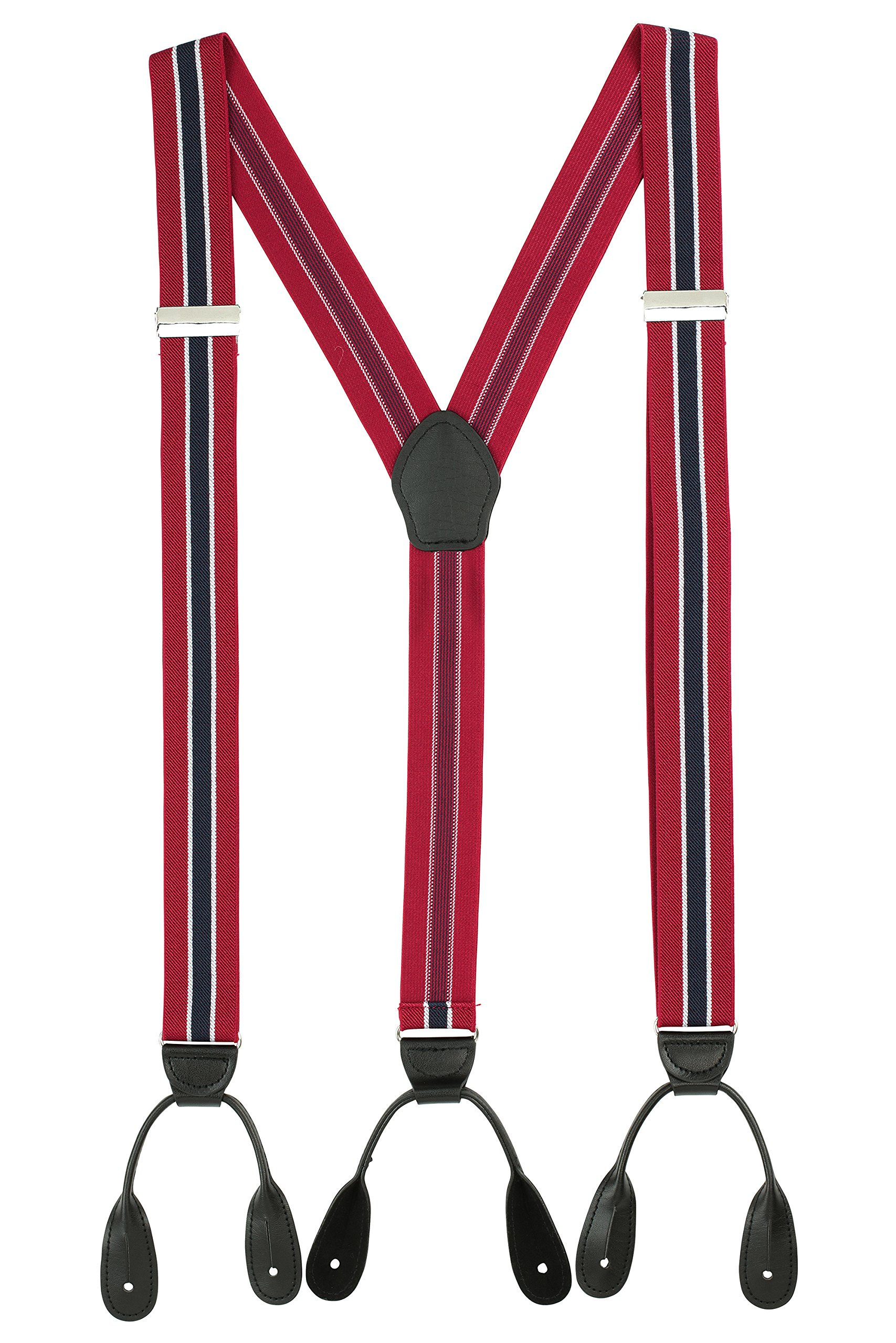 Suspenders for Men Leather Button End Tuxedo Y Back Mens Suspenders Pant Braces - Red/Navy