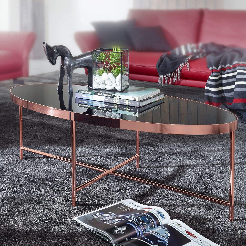 FineBuy Design Couchtisch Glas Schwarz Oval 110 x 56 cm mit Gold Metallgestell Lounge Tisch Glastisch Gro/ßer Wohnzimmertisch