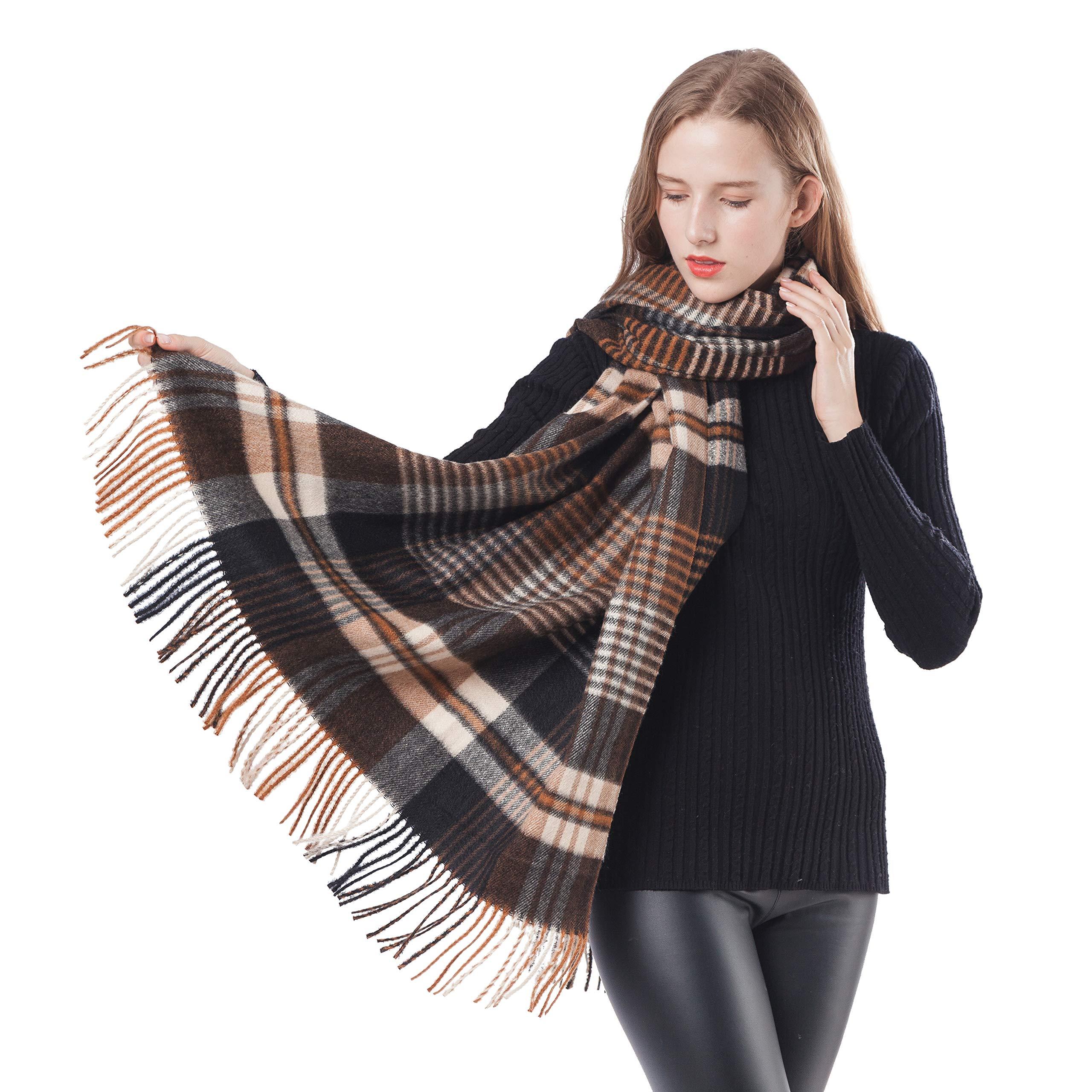 Women Large Pashminas Shawl Wraps Soft Cashmere Wool Plaid Scarf for Men Winter Warm Cape (Coffee+Black Plaid)