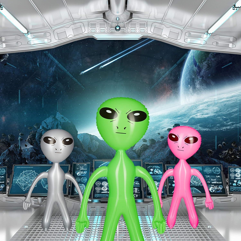 Relaxdays Lot 10x Extraterrestre Gonflable Figure Martien D/éco de F/ête Science Fiction Jouet Flottant /à Gonfler Argent/é