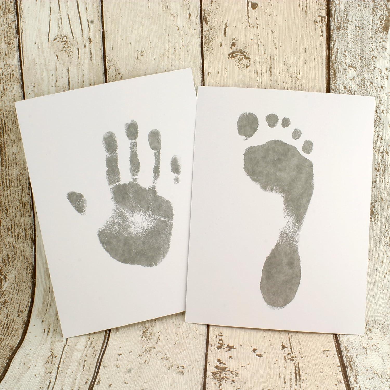 Juego de 8 hojas y 2 toallitas para impresión de manos y de pies de bebé, sin tinta, con tamaño listo para enmarcar Talla:Two Wipe & Eight Sheet set: ...