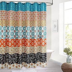 Reisen Boho Shower-Curtain Bohemian Colorful Striped Shower Curtains Fabric Bathroom Curtain Decor, 72 x72 Inch