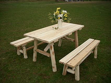 5 foot table farmhouse white cedar log picnic table with detached bench foot amazoncom