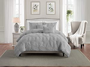 Swift Home Premium Bedding Set Collection 3-Piece Floral Ruched Pinch Pleat Pintuck Comforter Set - King/California King, Gray