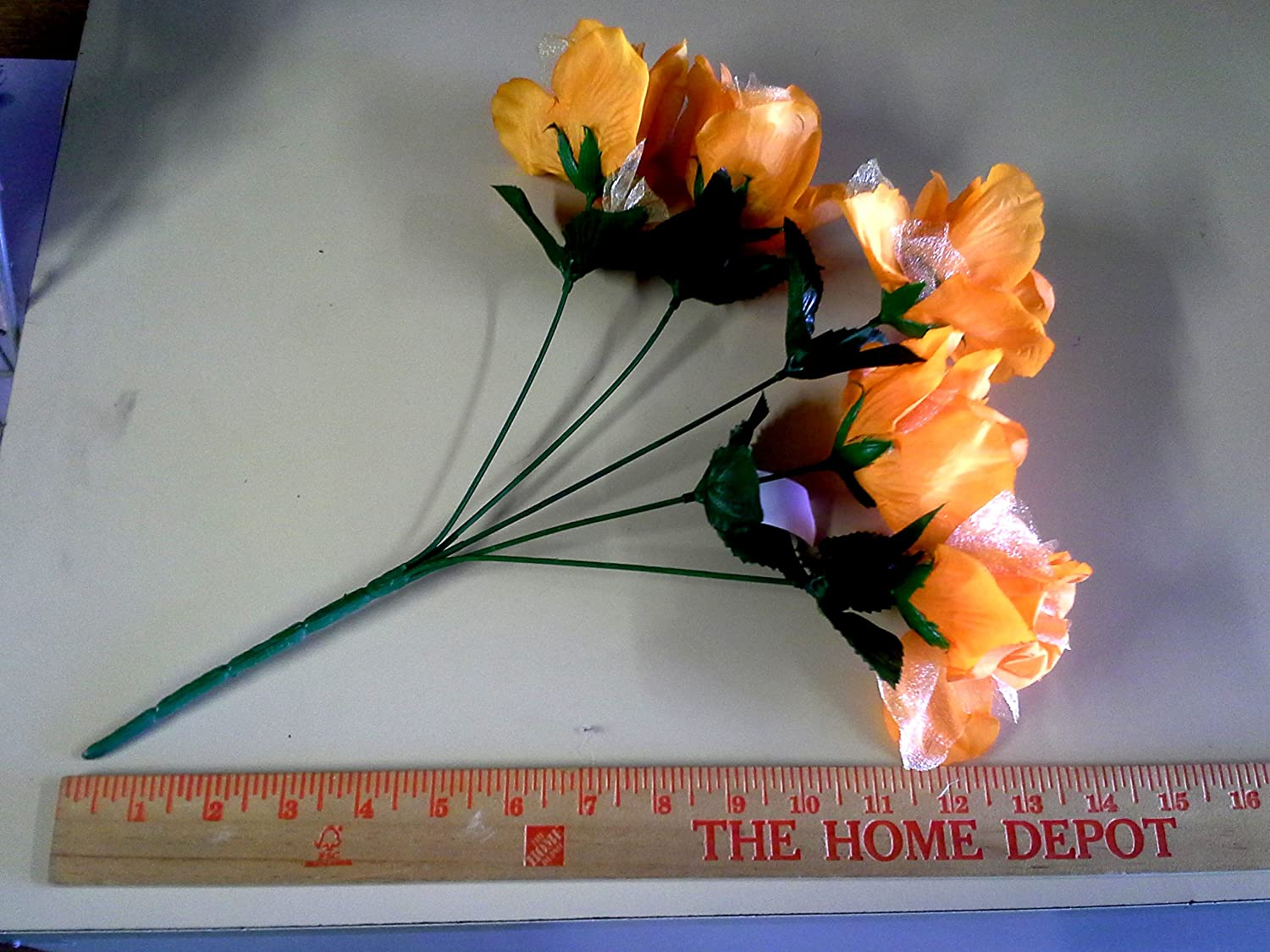 Amazon 2 Bushes Orange Open Rose Artificial Silk Flower 14