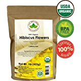 Hibiscus Tea 1LB (16Oz) 100% CERTIFIED Organic Hibiscus Flowers Herbal Tea (WHOLE PETALS), Caffeine Free in 1 lbs. Bulk Resealable Kraft BPA free Bags from U.S. Wellness
