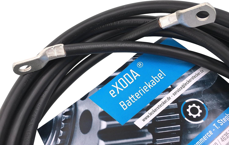 Exoda Batteriekabel Set 50 Mm 200cm Kupfer Stromkabel Mit Ringösen M8 Rot Und Schwarz Auto