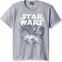 STAR WARS Big Boys' Zoom Space Logo Ship Graphic Tee, Ath HTR