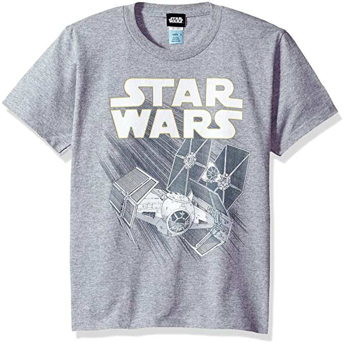 651b5905a Amazon.com: Star Wars Boys' Big Zoom Space Logo Ship Graphic Tee ...