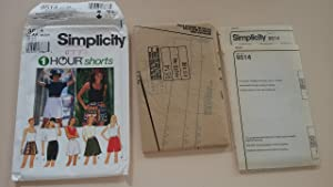 Simplicity Pattern 9514 Misses' One Hour Shorts Size AA (XS,S, M)