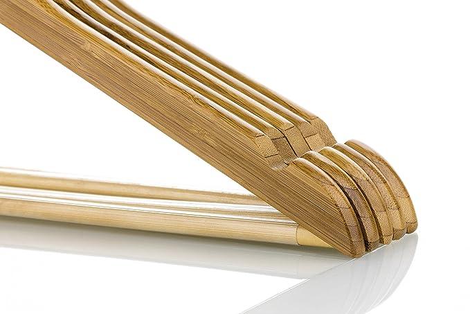 Amazon.com: Perchas de madera natural de bambú W/con muescas ...