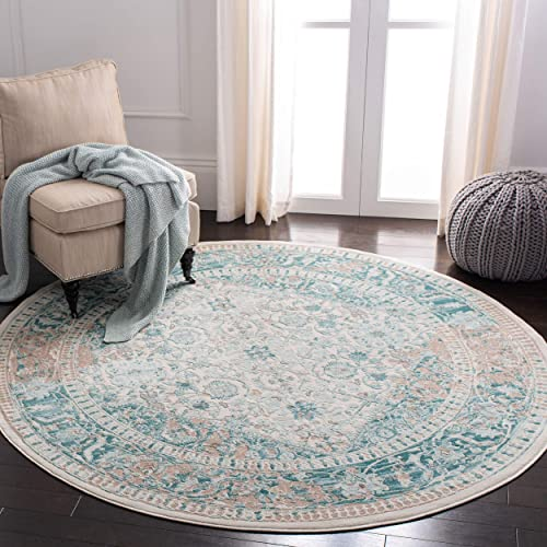 Safavieh Passion Collection PAS405B Turquoise and Ivory Distressed Round Area Rug 6 7 in Diameter