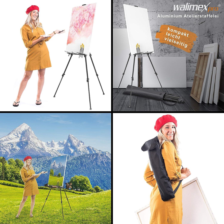 cavalletto da atelier Walimex Pro portata massima: circa 6/kg, con ripiano per colori, pennelli, porta-straccio, borsa per il trasporto, tele colore nero