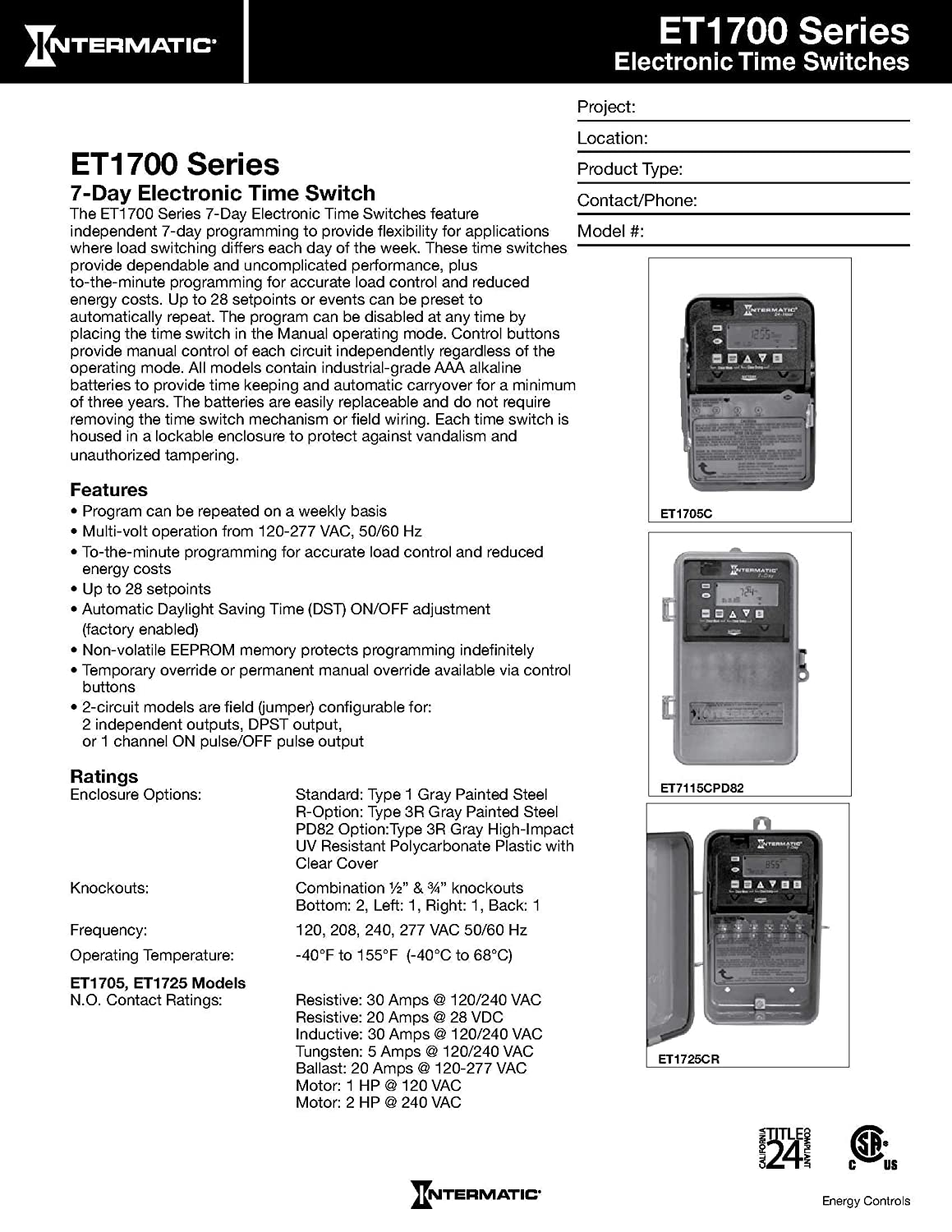 Intermatic Et1705cr 7 Day 30 Amps Spst Electronic Time Diagram For Timer Get Free Image About Wiring Switch Clock Voltage 120 Volt 277 Nema 3r Home Improvement