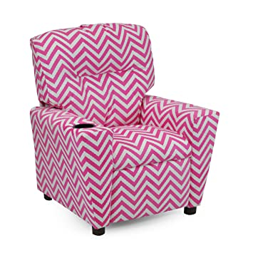Girls Pink Chevron Recliner Chair With Cupholder   Childrens Reclining  Upholstered Armchair   Shipping Included