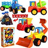 friction Powered Cars Push and Go Construction Vehicles Toy Set of 4 Cartoon Bulldozer, Tractor, Cement Mixer, Dump…