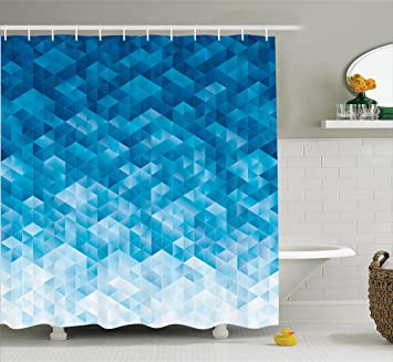 Light Blue Shower Curtain Geometric Decor By Ambesonne Gradient Digital Texture With Mosaic Triangle