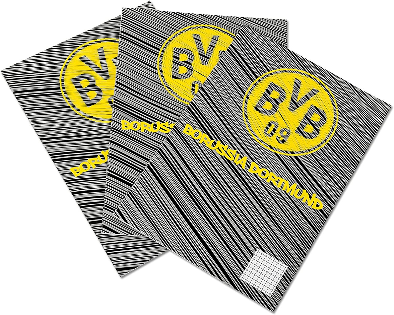 3 pieces Borussia Dortmund 90x60cm black-yellow Exercise books