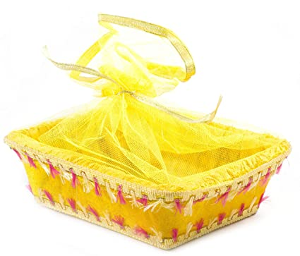 LINE N CURVES Yellow Net Velvet Decorative Royal Basket Potli Gift Hamper, Sweet Gifting, Baby Shower, Organizer, Wedding Gift Pack Pongal Gift Hamper (Pack of 2 Baskets)