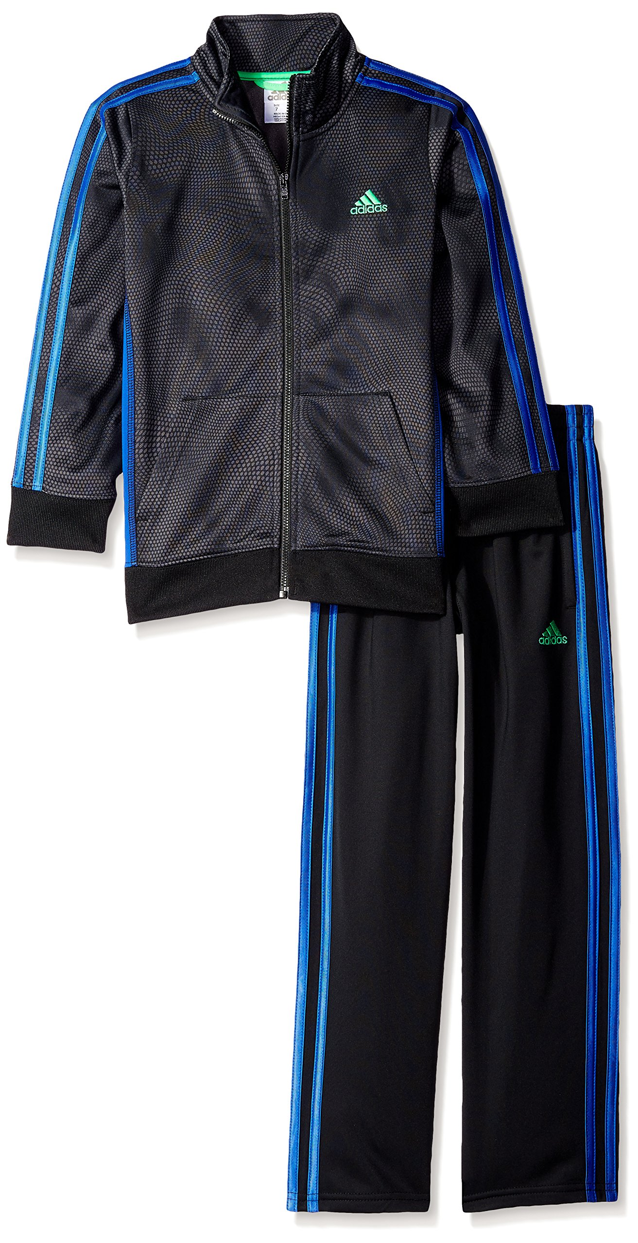 adidas Little Boys' Iconic Tricot Jacket and Pant Set, Black Print, 5 by adidas