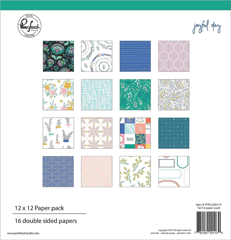 8 Designs//2 Pinkfresh Studio PFJD119 Double-Sided Paper Pack 12X12 16//Pkg-Joyful Day