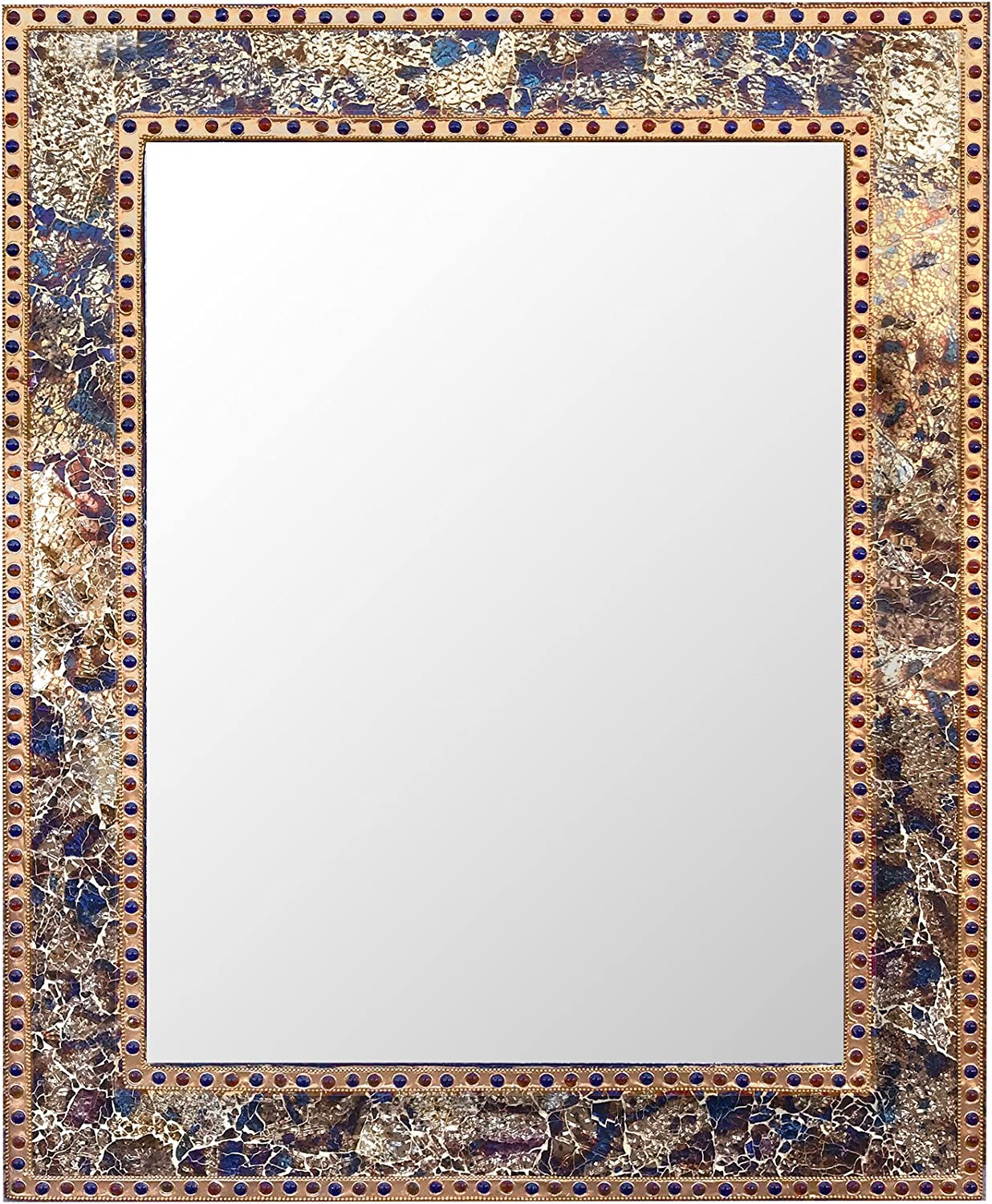 DecorShore Mosaic 30X24 Crackled Glass Decorative Wall Mirror, Fired Gold