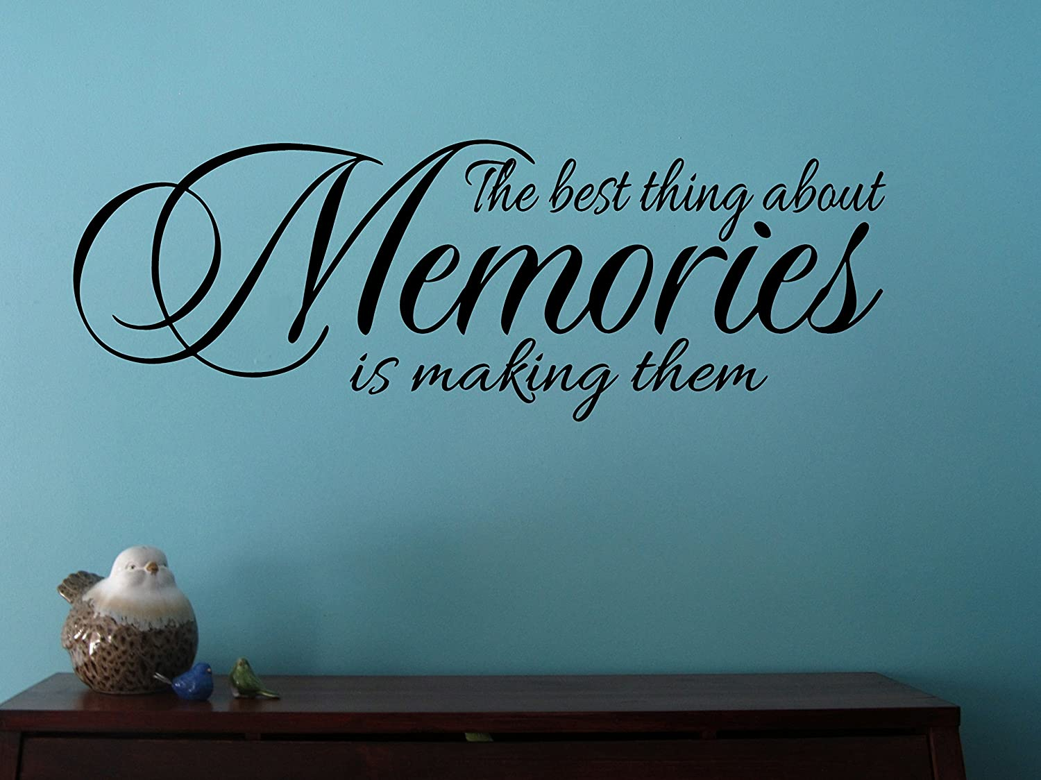 "Wall Decor Plus More WDPM3532""The Best Thing About Memories is Making Them"" Wall Decal Quote for Home, Vinyl Sticker Art, Black, 23"" x 8"""