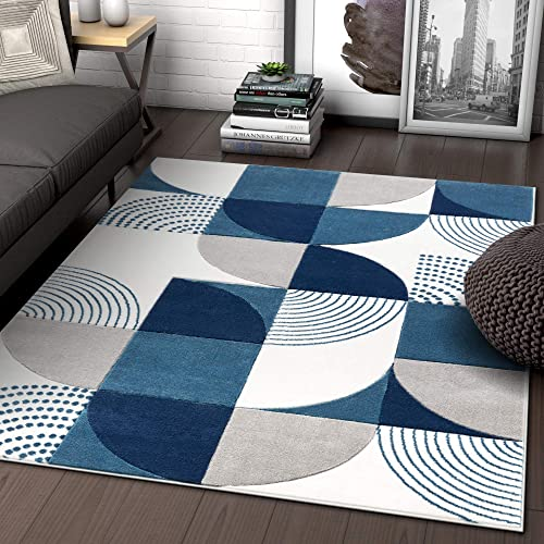 Well Woven Maggie Blue Modern Geometric Dots Boxes Pattern Area Rug 3×5 4×6 3 11 x 5 3