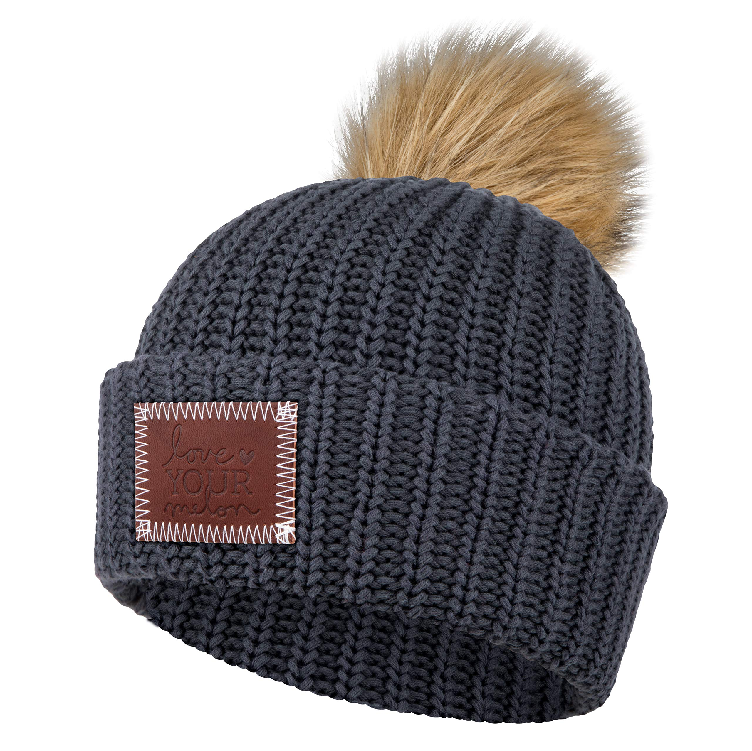 Love Your Melon Dark Charcoal Pom Beanie