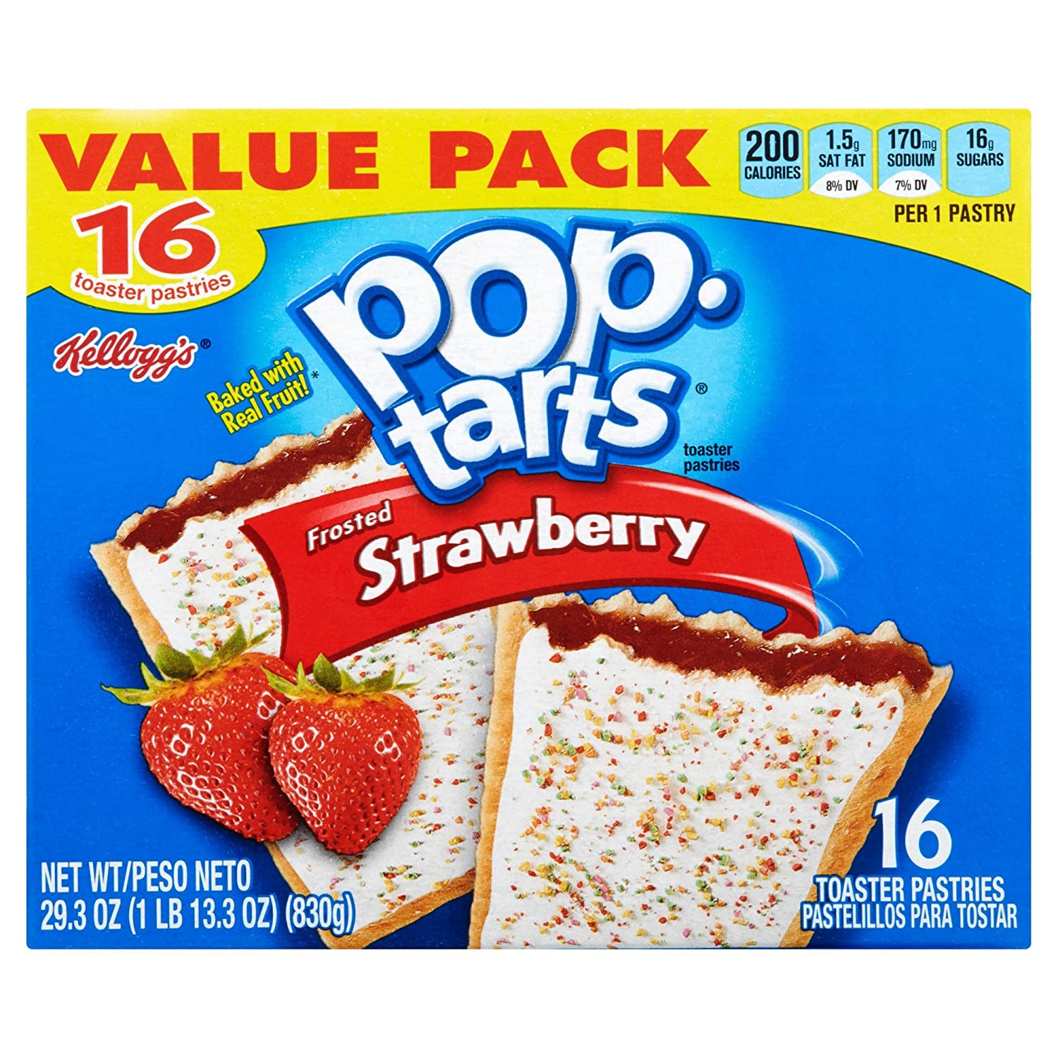 Kelloggs Pop-Tarts Frosted Strawberry Toaster Pastries, 16 ct 29.3 oz