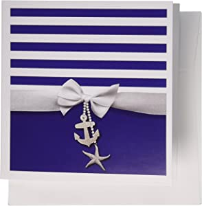 3dRose Nautical navy blue and white stripes - ribbon bow printed anchor and starfish charms - Greeting Cards, 6 x 6 inches, set of 6 (gc_151234_1)