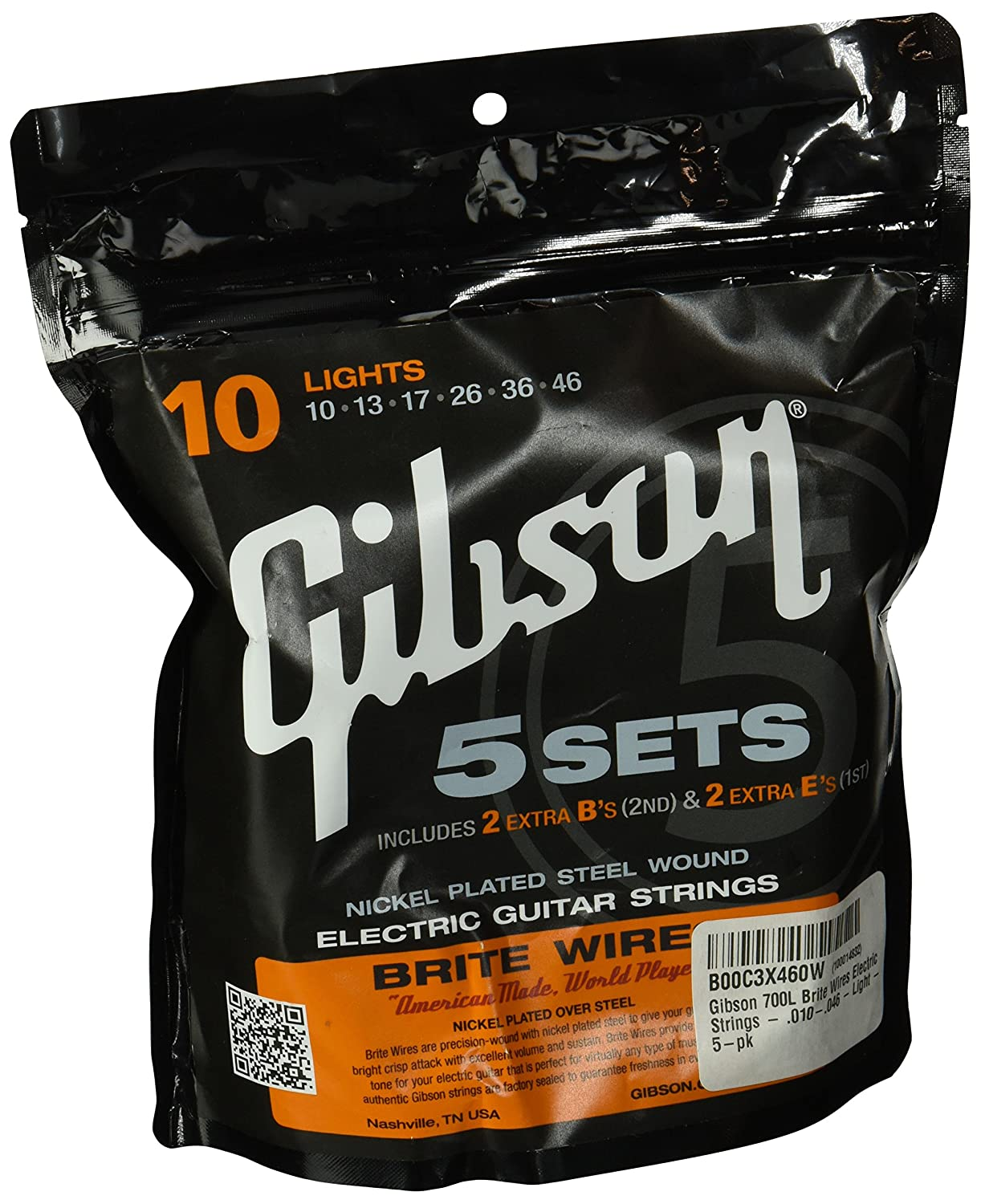 Gibson Light Brite Wires Electric Guitar Strings 5 Pack How To Wire An Musical Instruments