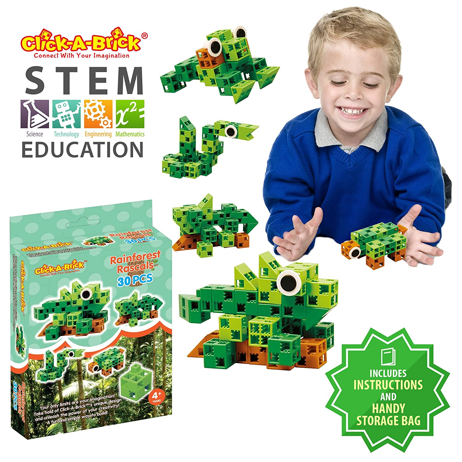 Click-A-Brick Rainforest Rascals 30pc Building Blocks Set | Best STEM Toys for Boys & Girls Age 4 5 6 Year Old | Kids 3D Creative Puzzle Fun | Top Educational Learning Gift For Children Ages 4 - 12 Review