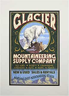 product image for Glacier National Park, Montana - Mountain Goat Vintage Sign (11x14 Double-Matted Art Print, Wall Decor Ready to Frame)