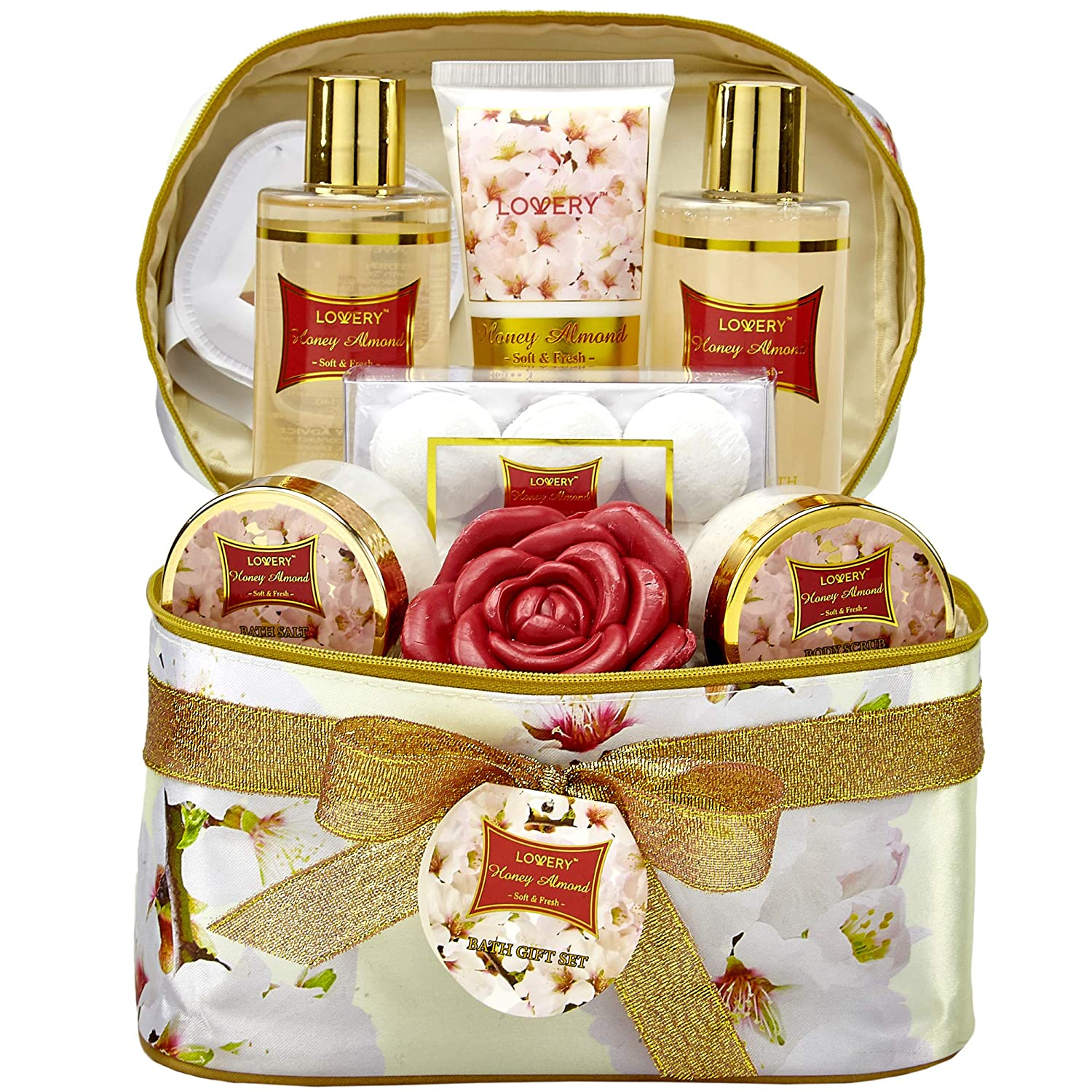 Bath and Body Gift Basket For Women – Honey Almond Home Spa Set with Fragrant Lotions, 6 Bath Bombs, Reusable Travel Cosmetics Bag with Mirror and More - 14 Piece Set