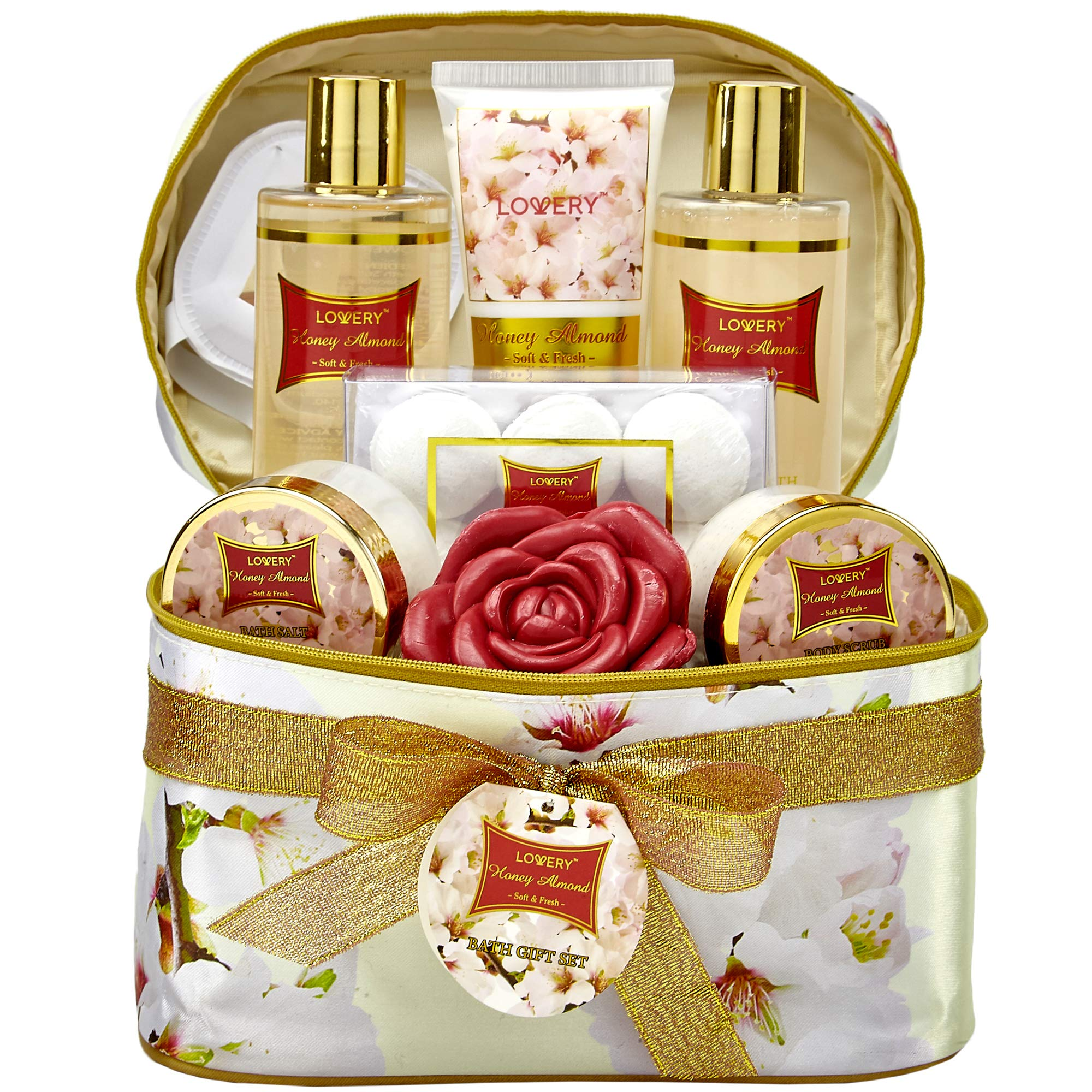 Bath and Body Gift Basket For Women - Honey Almond Home Spa Set with Fragrant Lotions, 6 Bath Bombs, Reusable Travel Cosmetics Bag with Mirror and More - 14 Piece Set