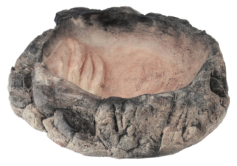 Acuami bol de terrarium - bol à eau, bol de nourriture et de bain pour geckos, tortues, serpents, reptiles - décoratif en effet pierre (L - 19,5x17x4,5cm)